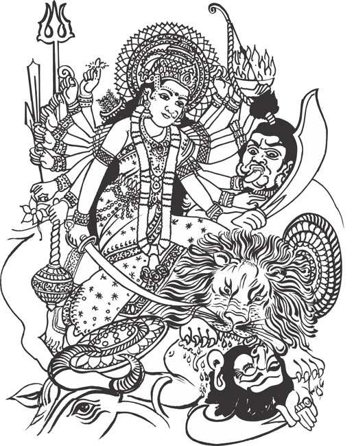 Durga free coloring pages for Hindu gods coloring pages